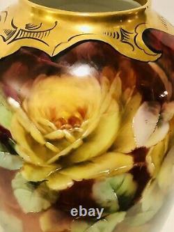 Pitkin & Brooks Limoges Goa France Roses Peintes À La Main Vase 11.5 Artiste Signé