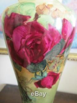 Pl Limoges France Peint À La Main Rouge Roses Vase Signé M. B. A. Sleeper 13,5