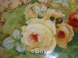 Plaque Baumy Ancienne Signée Limoges France, Peinte À La Main, Roses Et Or, 9