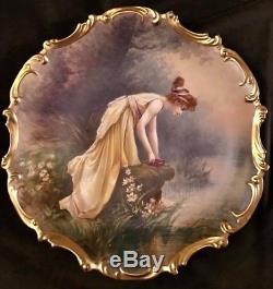 Plaque Chargeur Porcelaine Dubois Peinte À La Main Antique Limoges Ls & S