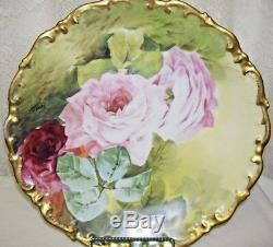 Plaque Chargeur Roses Peint À La Main France Limoges Signé Henriot