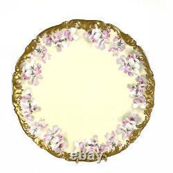 Plaque D'armoire T & V Antique Grande 12.5 Florale Jaune Peinte À La Main