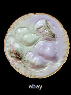 Plaque D'huître Ancienne Peinte À La Main Signé Et Daté 1896