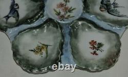 Plaque D'huître De Porcelaine Haviland Limoges France Peinture À La Main