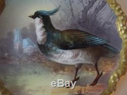 Plaque De Collectionneur De Chargeur D'oiseaux Jeu De Coronet Antique De Limoges Peinte À La Main Signée