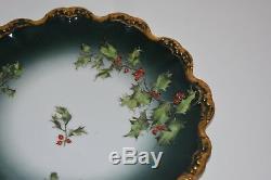 Plaque De Limoges Baies De Houx T & V France Peint À La Main De Vacances Gold Edge Antique