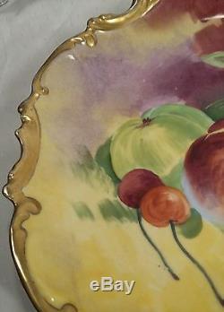 Plaque Murale Chargeur Signée Aux Fruits Coronet Limoges France 10 & 1/4 Signée