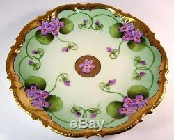 Plaque Vitrine Antique De Violets Art Nouveau Peinte À La Main