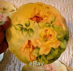 Plaques D'armoire Peintes À La Main De Limoges, Roses (7), Couleurs Assorties, Rose Jaune