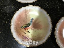 Plaques Limoges Coronet Oiseaux (6) Et Set Platter. Signé Rene