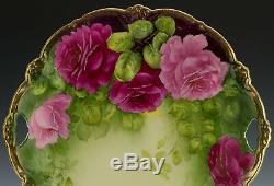 Plate Antique Cake Bavaria Roses Peintes À La Main