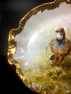 Plateau À Oiseaux Peint À La Main En Porcelaine De Limoges France De 47 CM / 18,5 Cm, Après 1924