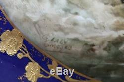 Plateau Porcelaine Peinte À La Main Française Paysage Signé G. S. G. Limoges Laly C. 1920