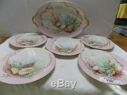Platter & 5 Limoges France Sea Main Assiettes Peintes Coquilles Pouyat Circa 1850
