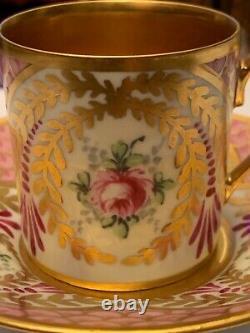Porcelaine Ancienne Limoges Tasse À Café Et Soucoupe, Décorée De Flo Peint À La Main