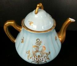 Porcelaine De France Chou Peint À La Main Rose Heavy Gold Gilt Teapot Vintage