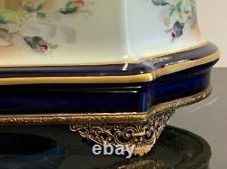 Porcelaine De Limoges Gorgeous Large Hand Painted Cobalt Blue Jewelry Casket Box