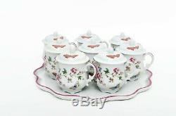 Porcelaine De Limoges Peinte À La Main Papillons Pots De Crème Set - 8 Tasses Et Plateau