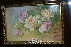 Porcelaine Peinte Encadrée Antique Main Roses Plaque Murale Limoges France A Signé