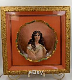 Portrait Plaque Plaque Porcelaine Peinte À La Main Antique Limoges