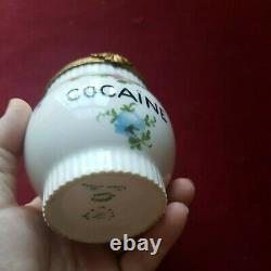 Pot Antique De Cocaïne De Porcelaine Français Limoges Peint À La Main Doré Floral