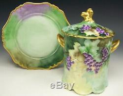Pot De Confiture De Lait Condensé À La Main Et Aux Papillons De Myrtilles D'époque Vintage 1905-1910