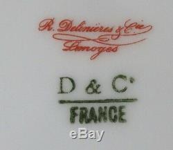 R. Delinieres & Co. Limoges France 10pc Jeu Oiseau Set D'or Peint À La Main Rouge