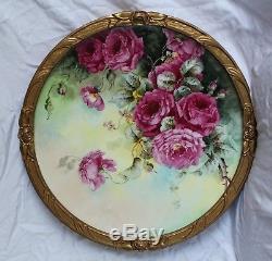 Rare 18 Jpl Plaque En Porcelaine De Limoges Avec Roses Peintes À La Main