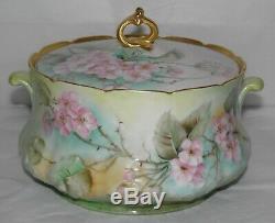 Rare Antique Gda Limoges France Biscuit Cracker Jar Peinte À La Main Rose Wild Roses