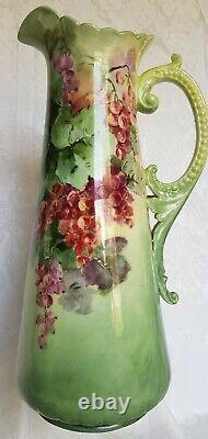 Rare Antique Haviland Limoges France Tankard/pichet Hand Painted Berries 12 3/4