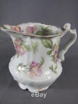 Rare Antique Haviland Limoges Peinte À La Main Baltimore Rose Creamer Or Gilt