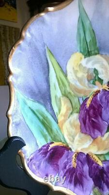Rare Antique Limoges France Flambeau Artiste Iris Peint À La Main Signé Assiette Engre