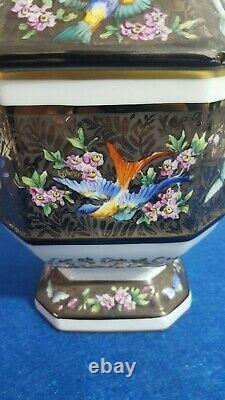Rare Antique Porcelaine Peinte À La Main France Apothecary Jar Le Tallec Signé