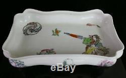 Rare Haviland Porcelaine Peinte À La Main Bowl Footed Japonaise De Geisha Fille Motif