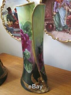 Rare Limoges Coronet France Peint À La Main Ensemble De 3 Roses Vase Énorme Signé Rancon