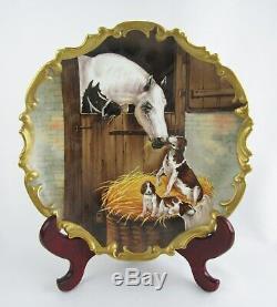 Rare Limoges France A Signé Colt Painted Horse Main Avec Chien Et Chiots 12 Chargeur