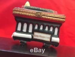 Rare Limousine Cable Car Box Limoges De Rochard, Finement Peinte À La Main