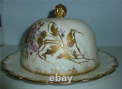 Rare M. Redon Limoges Porcelaine France Fromage Couvert Peint À La Main