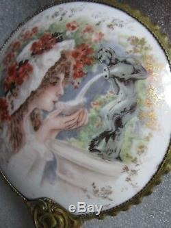 Rare Magnifique Miroir En Porcelaine Peinte À La Main De 1890 Art Nouveau, Limoges