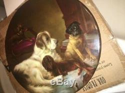 Rare Main Magnifique Peint Limoges Plaque De Chiens Signé R Scholz