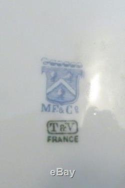 Rare Plateau De Baies De Houx Anciennes De Limoges T & V / Mf & Co 7.25 Peint À La Main