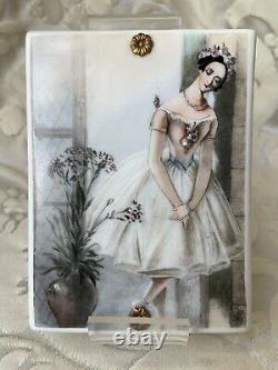 Rare Porcelaine De Limoges / Chargeur / Peinture / Plaque Romantique Ballerine Peinte À La Main