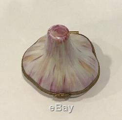 Rare! Tiffany & Co. Limoges France Boîte À Bijoux Avec Gousse D'ail Peinte À La Main Signée
