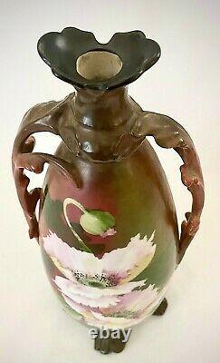 Rare Vintage Pmc France Limoges Vase Peint À La Main En Porcelaine