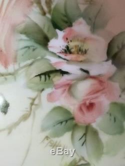 Rarement Fb Hall E Paire De Roses Peintes À La Main Miler Placards Vanity Bols Sels Limoges