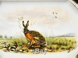 Remarquable Limoges Illustrateurs Platter Jack Rabbit Peinte À La Main
