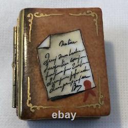 Rocahrd Peint Main Limoge France Livre Peint À La Main Avec Des Lunettes Trinket Box