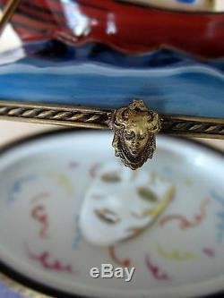 Rochard Limoges Gondole De Venise Boîte Peinte À La Main France Bnib Porcelaine Hinged
