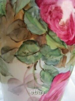 Roses De Chou Peintes À La Main Anciennes Pl Limoges France Signé Tappenbeck 13.5