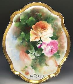 Roses De Pêche Peintes À La Main De Limoges 16 Plateaux Plateau Artiste Seidel / Valeur
